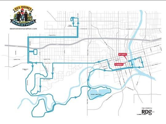 2017 IMT Des Moines Marathon map.