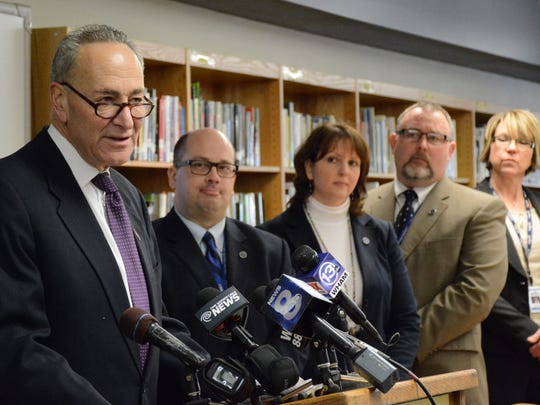 U.S. Senator Charles Schumer visited Batavia High School Monday morning to urge a ban on new synthetic drug combinations.