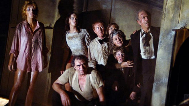 """A large cast, including  Stella Stevens (from left), Pamela Sue Martin, Ernest Borgnine, Red Buttons, Carol Lynley (partly obscured), Shelley Winters, Eric Shea and Jack Albertson, stars in the 1972 box-office smash """"The Poseidon Adventure."""" Are you humming """"The Morning After"""" yet?"""