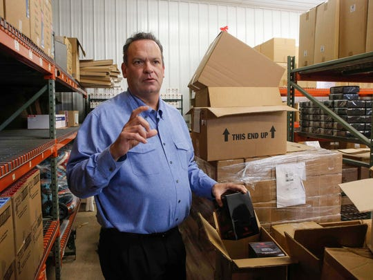Mark Hubble, CEO of Meskwaki, Inc., shows the limited space in the Renards factory warehouse on Thursday, Oct. 5, 2017, at the Meskwaki Settlement near Tama. Meskwaki, Inc., is about to open the doors on a much more spacious factory and warehouse on the grounds, which will allow for more diverse jobs on the settlement. Currently Meskwaki Casino and Bingo is the largest employer on the settlement.
