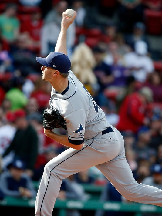 Tampa Bay Rays' Jake Odorizzi pitches during the first inning of a baseball game against the Boston Red Sox in Boston, Saturday, April 15, 2017, in Boston. (AP Photo/Michael Dwyer)