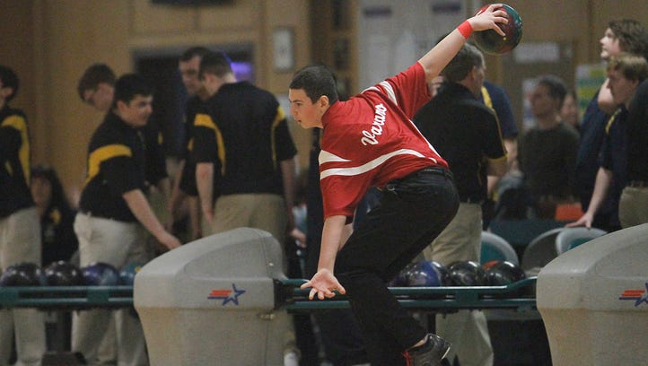 North Rockland's Nick Varano throws Tuesday in the Section 1 boys bowling championships in Fishkill.
