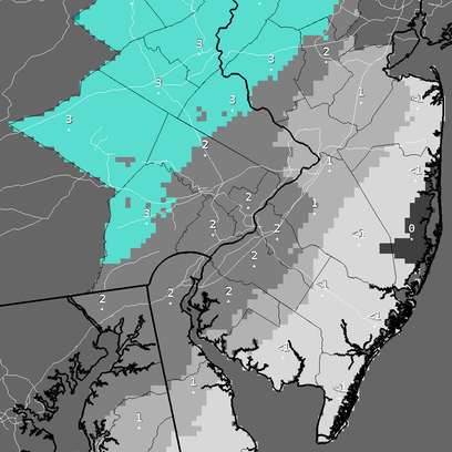 Coastal areas will see only a dusting of snow Monday,