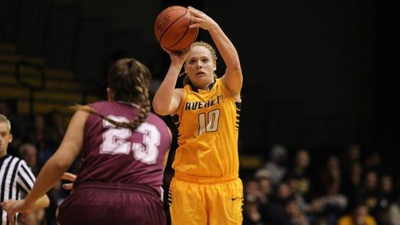 Former Mountain Heritage standout Samm Chandler scored her 1,000th career point for the Averett (Va.) women's basketball team on Monday.
