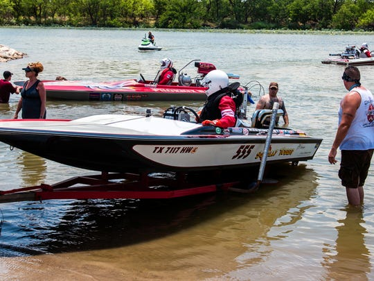 "Boat #555, named ""Sotally Tober,"" driven by Steve Walls,"