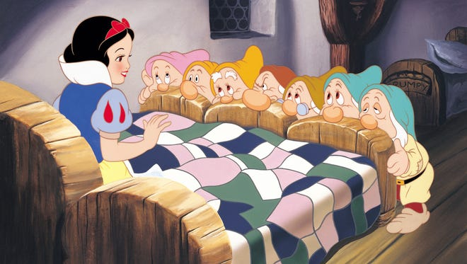 "This is a scene from the 1937 animated motion picture ""Snow White and the Seven Dwarfs."""