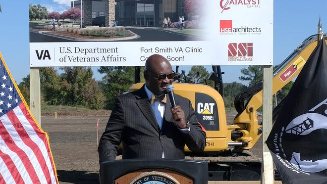 Medical Center Director Kelvin L. Parks, a retired U.S. Navy chief yeoman, speaks at a groundbreaking ceremony Oct. 30, 2020, for the Health Care System of the Ozarks' new, 34,000-square-foot Community Based Outpatient Clinic in Fort Smith.