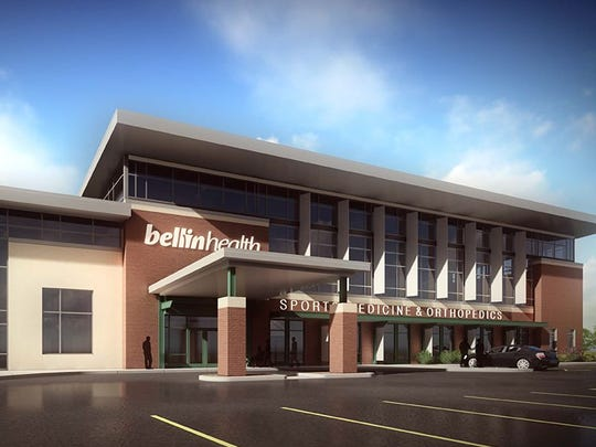 An artist's rendering of the Bellin Health Sports Medicine & Orthopedics clinic in the Titletown District. The view is from the south. Oct. 6, 2016.