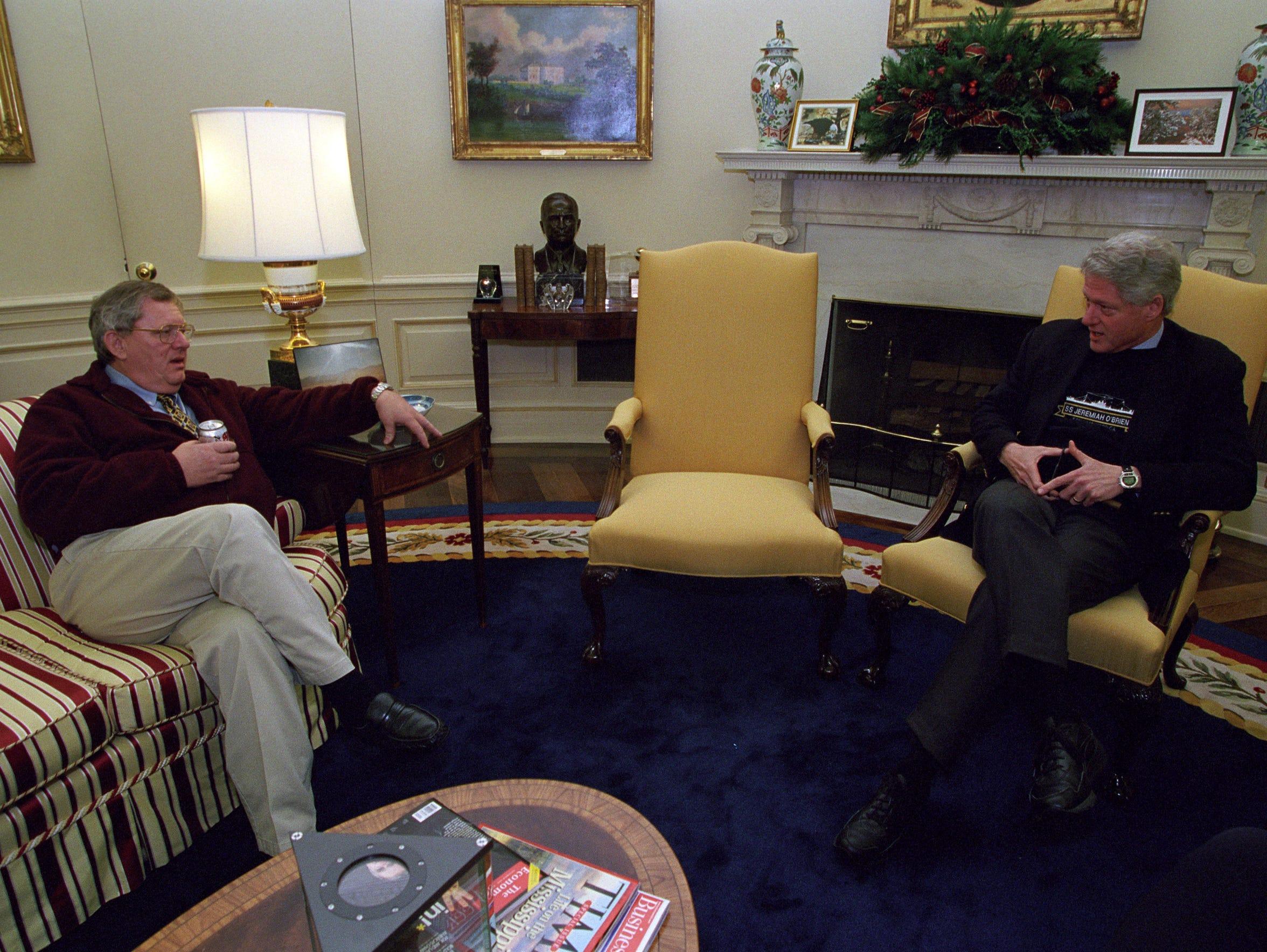 Bill Janklow talks with Bill Clinton in December of