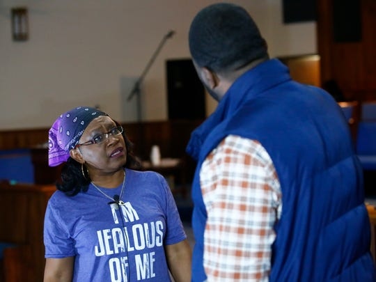 """Terri Fortson and Rocky Virden rehearse """"Lord Can You Hear Me?"""" at Latter Rain Church of God on Tuesday evening."""