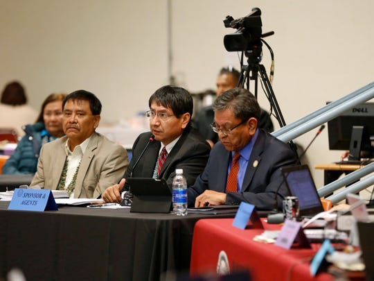 Navajo Nation Vice President Jonathan Nez, center, presents his part of the State of the Nation address during the winter session on Monday in Window Rock, Ariz.