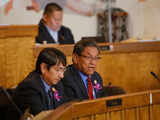 Navajo Nation Vice President Jonathan Nez, left, listens to Navajo Nation President Russell Begaye deliver the State of the Nation address during the fall session on Oct. 17 in Window Rock, Ariz.