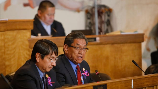 Navajo Nation Vice President Jonathan Nez, left, listens to Navajo Nation President Russell Begaye deliver the State of the Nation address during the fall session last year in Window Rock, Ariz.