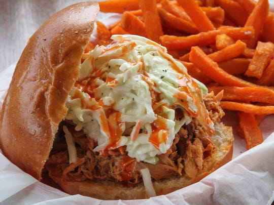 A Buffalo pulled chicken sandwich at Local Smoke BBQ in Neptune City