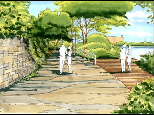 A pedestrian path along the river is planned as part