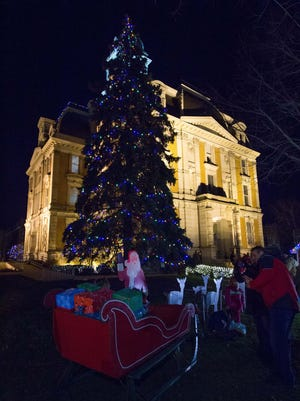 Lights decorate a tree at the Hamilton County Courthouse, Noblesville, during last year's tree lighting ceremony.