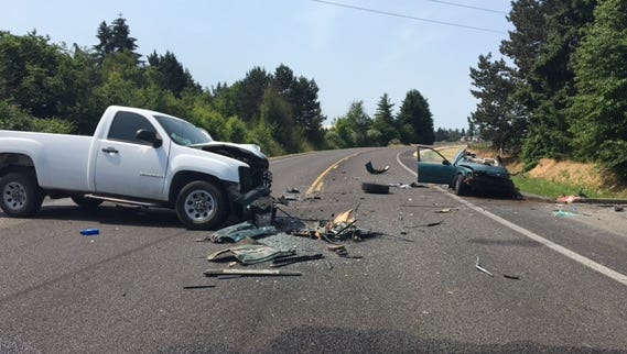 A two-vehicle collision left a Salem teen with serious injuries
