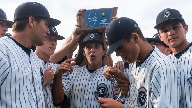 St. Augustine celebrates a victory of Notre Dame for the NJSIAA Non-Public A South Jersey Final at St. Augustine Prep on Tuesday, June 5.
