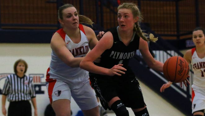 Dribbling around Livonia Franklin's Makaylah Liddell (20) Tuesday night is Plymouth's Elle McCaslin (1).