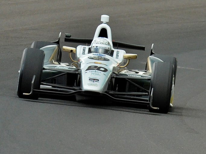 Ed Carpenter in turn 3 on his 230.522 MPH run  Friday  May 15,  2014  at The Indianapolis Motor Speedway during practice for the Indianapolis 500.