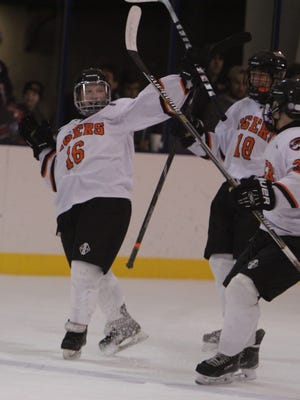 White Plains' Liam Broderick (16) celebrates after scoring a power play goal in the first period against Stepinac during the Guy Mathews Thanksgiving Invitational Hockey Tournament at the Ebersole Ice Rink on Saturday, November 28th, 2015. Stepinac won 7-3.