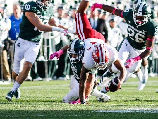 MSU LB Joe Bachie forces Simmie Cobbs Jr. of Indiana