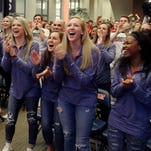 Belmont's players react to seeing they will play Michigan State in the first round of the NCAA Tournament.