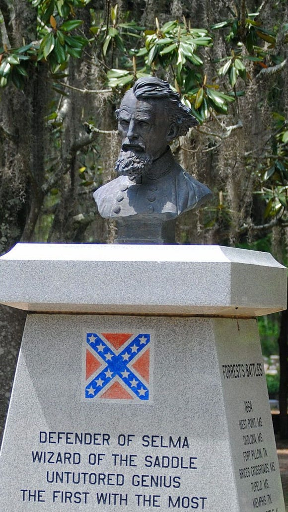 A monument honoring Confederate Gen. Nathan Bedford Forrest in Selma. Sen. Gerald Allen says his bill is not about Confederate monuments, made changes to the bill that create a permanent legislative committee to oversee state monuments and allow the Historical Commission to charge fees for its work. The process of removal remains in place.