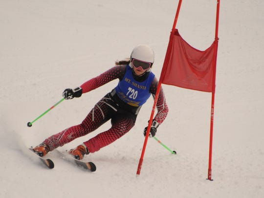 Mount Shasta High's Carter Chase competes during Monday's giant slalom race at the Mt. Shasta Ski Park. Chase was the top girls skier in the first league race.