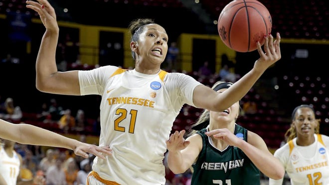 Tennessee center Mercedes Russell, left, battles Green Bay guard Jessica Lindstrom during the NCAA Tournament first-round game on March 18, 2016, in Tempe, Ariz.