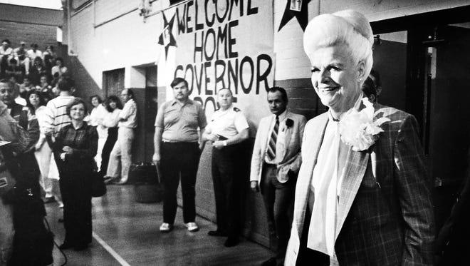 Gov. Rose Mofford at Globe High School where she graduated, April 21, 1988.