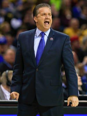 John Calipari coaches during the NCAA tournament this past season.