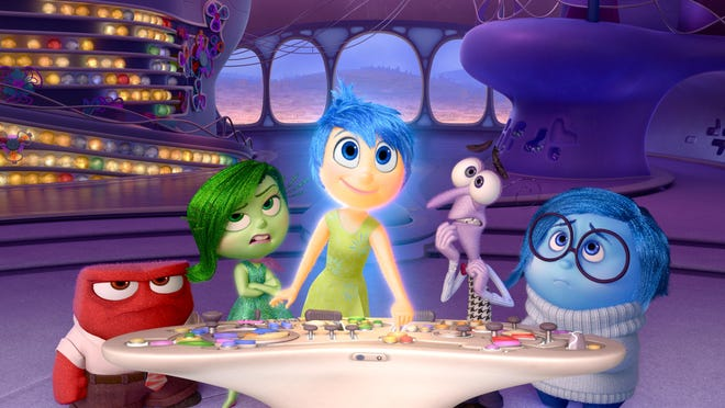 """Characters, from left, Anger, voiced by Lewis Black, Disgust, voiced by Mindy Kaling, Joy, voiced by Amy Poehler, Fear, voiced by Bill Hader, and Sadness, voiced by Phyllis Smith appear in a scene from """"Inside Out."""" The film is nominated for an Oscar for best animated picture."""