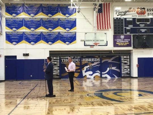 A look at the new murals and gym floor at the dedication