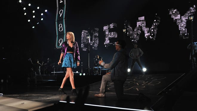 Taylor Swift performs Sept. 21, 2015, at the Sprint Center in Kansas City, Mo.