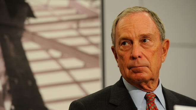 Michael Bloomberg  addresses the media during a preview of the 9/11 Memorial Museum on May 14, 2014.