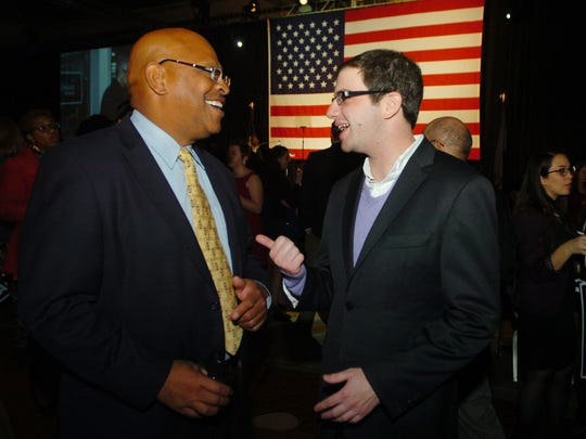 Farmington Hills councilman Michael Bridges, left, with Jeremy Moss.