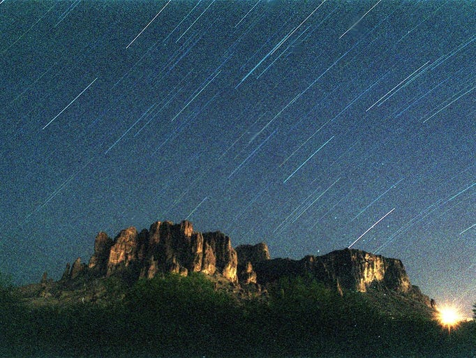 Star trails over Superstitution Mountains  in this