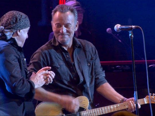 Little Steven Van Zandt (left) and Bruce Springsteen perform together after Springsteen joined VanZandt and the Disciples of Soul on stage at the Paramount Theatre in Asbury Park, NJ, Saturday, April 22, 2017, during the Asbury Park Music in Film Festival.