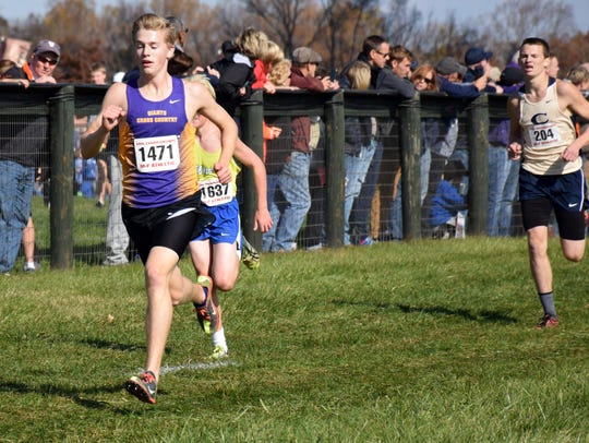 Waynesboro's Chandler Showalter approaches the finish