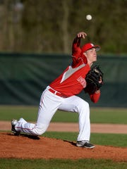 Richmond's Jordan Christian pitches to Hagerstown during a baseball game Tuesday, March 29, 2016, on John Cate Field at McBride Stadium in Richmond.