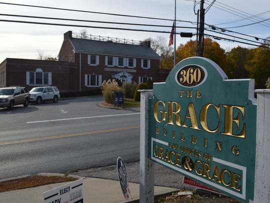 Supervisor Michael Grace's office building stands across the street from Yorktown Town Hall, where Grace paid $29,000 in back taxes on Tuesday.
