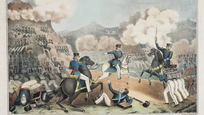 Storming of Palace Hill at the Battle of Monterey, lithograph by Tompkins Harrison Matteson, c. 1855.
