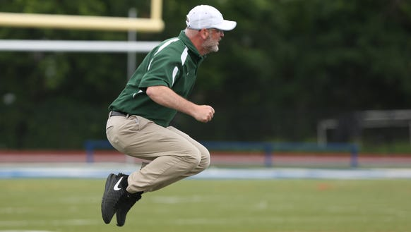 Yorktown's Dave Marr reacts after an official's call