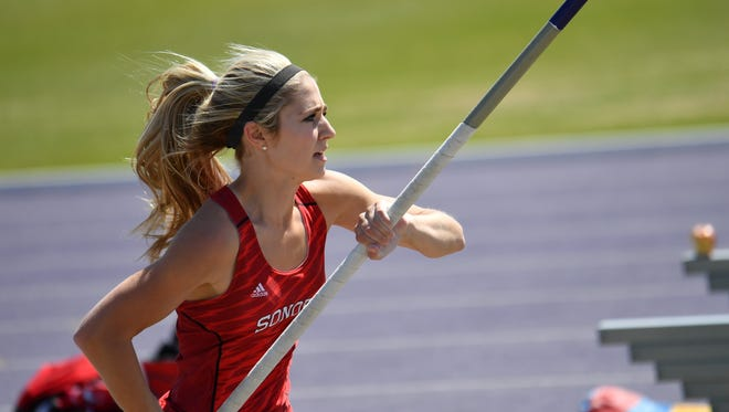 Sonora's Lane Cahill approaches the bar during girls pole vault competition earlier this year.