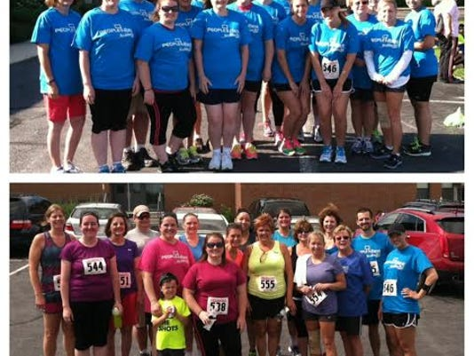 Above is a group photo taken at the start of the Couch to 5K training program. Below is the photo of the team at their first run. SUBMITTED