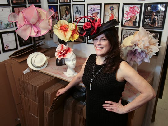 Christine Moore, owner of Christine A. Moore Millinery, creates custom-made hats for celebrities at her millinery in Manhattan.     Mar. 13, 2018