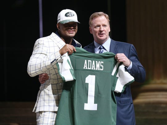 Apr 27, 2017; Philadelphia, PA, USA; Jamal Adams (LSU) poses with NFL commissioner Roger Goodell (right) as he is selected as the number 6 overall pick to the New York Jets in the first round the 2017 NFL Draft at the Philadelphia Museum of Art. Mandatory Credit: Kirby Lee-USA TODAY Sports