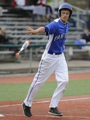 Southeastern's Owen Diehl drops his bat after drawing
