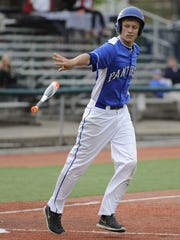 Southeastern's Owen Diehl drops his bat after drawing a walk against River Valley in a 2015 Division III district semifinal at VA Memorial Stadium.
